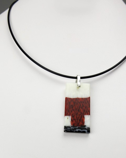 Red, White, and Black Rectangular Pendant Necklace