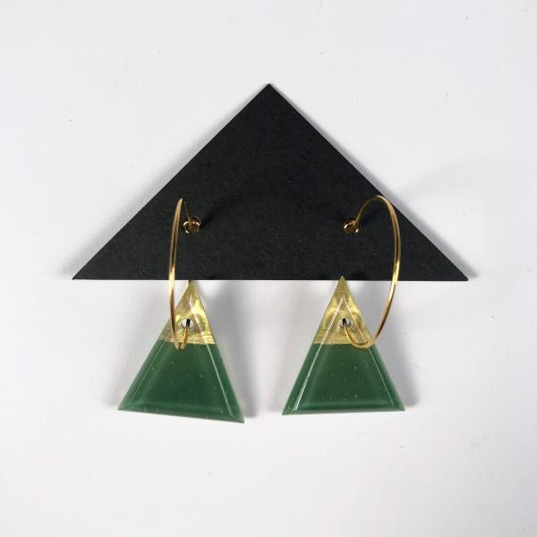 Geometric Glass Triangle Hoop Earrings - Green + Gold