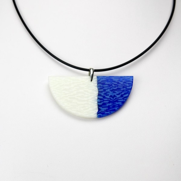 Blue and White Wedge Pendant Necklace
