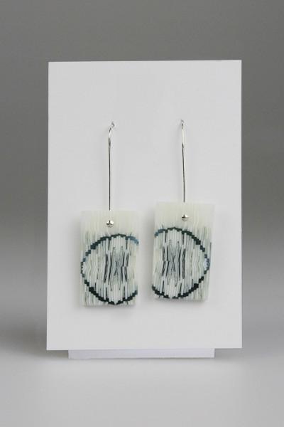 Green Circle Rectangles Earrings