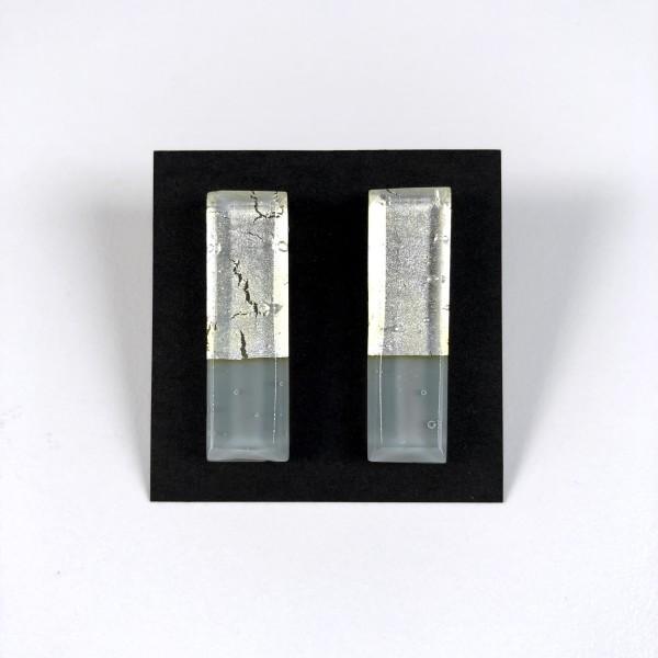 Geometric Glass Post Earrings - Silver + Gray