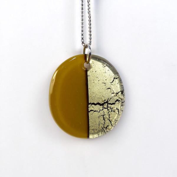 Geometric Glass Oval Pendant Necklace - Golden Green + Metallic