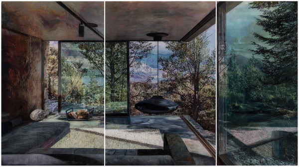 Gil Heitor Cortesāo Mountain Retreat, 2020 Oil on plexiglas Triptych 130 x 232 cm total 51 1/8 x 91 3/8 in total