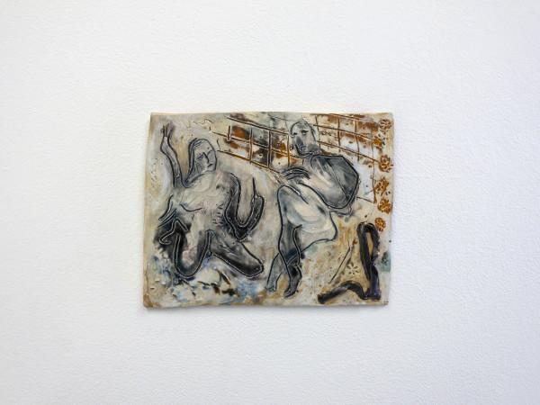 Monika Grabuschnigg Left on shuffle, 2020 Glazed ceramic 19.5 x 24 x 1.5 cm 7 5/8 x 9 1/2 x 5/8 in