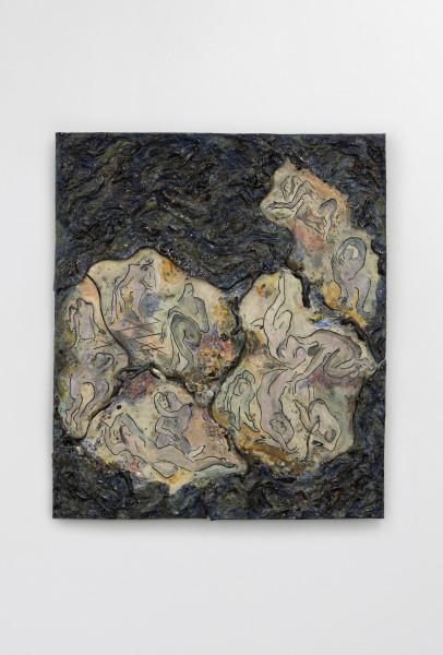 Monika Grabuschnigg Insomnia, 2020 Glazed ceramic, resin, metal and silicone 94 x 81.5 x 6 cm 37 1/8 x 32 1/8 x 2 3/8 in