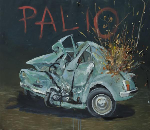 Philip Mueller Palio a autodromo di Castello d'oro Santo Stefano, 2020 Oil on canvas 140 x 160 cm 55 1/8 x 63 in