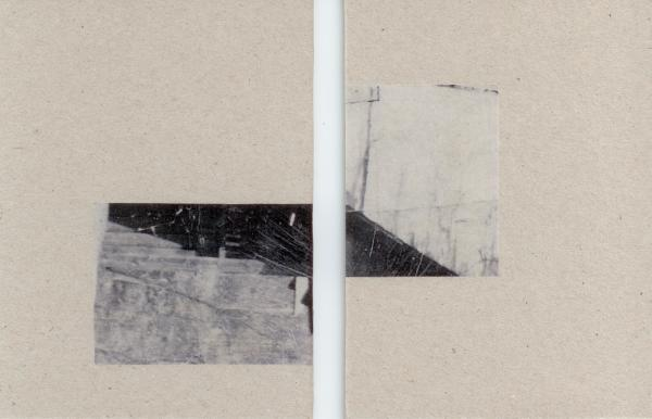 Sarah Almehairi Fictionalized Structures 2, 2019 Print on vellum mounted on bookboard Diptych 14 x 10.5 cm each 5 1/2 x 4 1/8 in each