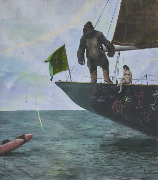 Philip Mueller Self-portrait at tibe yachting club Santo Stefano, 2019 Oil on canvas 160 x 140 cm 63 x 55 1/8 in