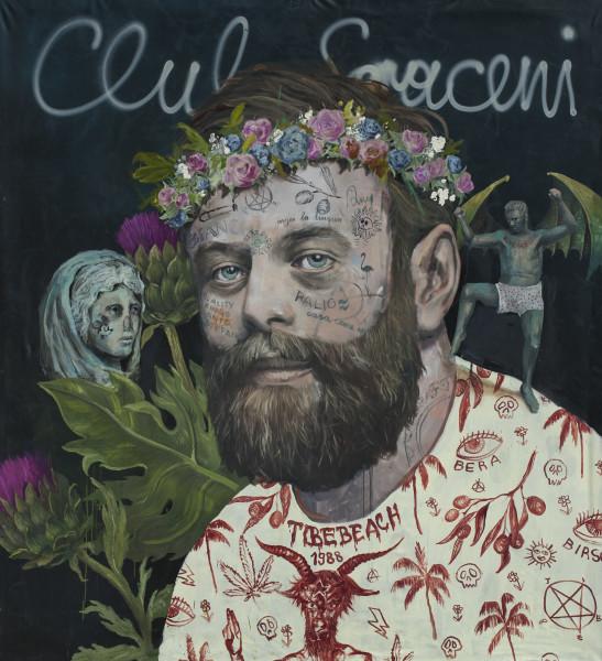 Philip Mueller Self portrait as Bacchae, 2020 Oil on canvas 220 x 200 cm 86 5/8 x 78 3/4 in