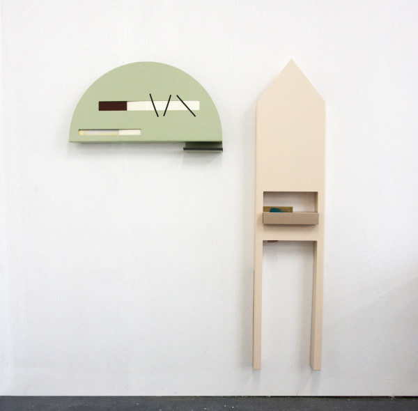 Amba Sayal-Bennett Ittar Vera, 2019 Powder coated steel, tape, paper, foam and polyurethane model board Green Sculpture: 42 x 73 x 9 cm Beige Sculpture: 146 x 31 x 9 cm
