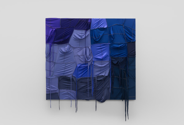 Anthony Akinbola CAMOUFLAGE #053 (Neptune), 2021 Acrylic and Du-rags on wooden panel 190 x 210 cm 74 3/4 x 82 3/4 inches