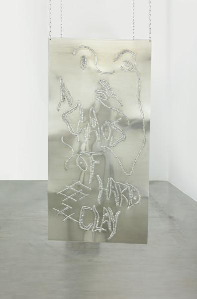 Monika Grabuschnigg Chaos of hard clay, 2021 Aluminium 150 x 75 x 0.4 cm 59 1/8 x 29 1/2 x 1/8 in