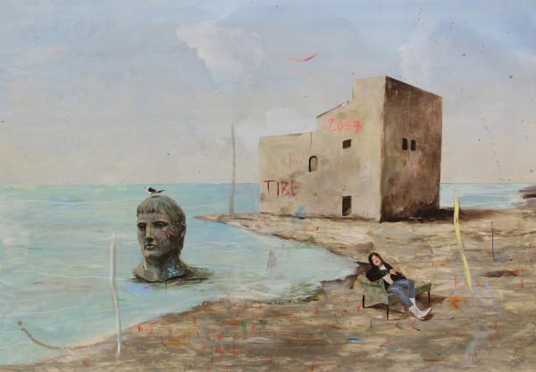 Philip Mueller  Beach resort Tiberio Santo Stefano 5pm discussion, 2018  Oil on canvas  60 x 80 cm  23 5/8 x 31 1/2 in