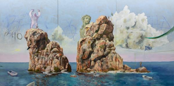 Philip Mueller Ewig ist nur Tibe Beach, 2020 Oil on canvas Triptych 300 x 600 cm total 118 1/8 x 236 1/4 in total