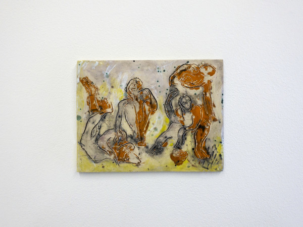 Monika Grabuschnigg Sitting in orange, 2020 Glazed ceramic 20.5 x 27 x 1.5 cm 8 1/8 x 10 5/8 x 5/8 in