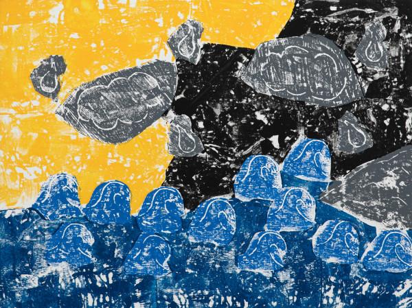 Olaf Breuning Sea Level, 2019 Wood cut print, gesso and acrylic on canvas 146 x 195 cm 57 1/2 x 76 3/4 in