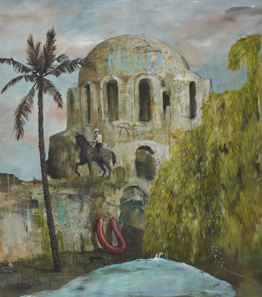 Philip Mueller Gigi riding hard at tibe beach club, 2019 Oil on canvas 160 x 140 cm 63 x 55 1/8 in