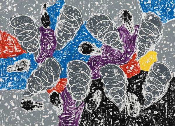 Olaf Breuning Storm, 2019 Wood cut print, gesso and acrylic on canvas 143 x 198 cm 56 1/4 x 78 in
