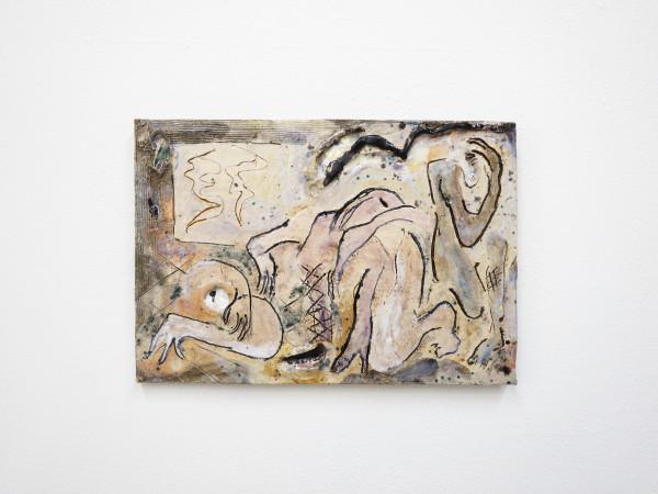 Monika Grabuschnigg Three people in your room, 2021 Glazed ceramic 25.5 x 37 x 2 cm 10 1/8 x 14 5/8 x 3/4 in