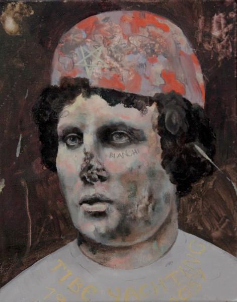 Philip Mueller  Beach resort tiberio guest Traude, 2018  Oil on canvas  30 x 24 cm  11 3/4 x 9 1/2 in