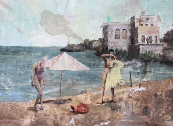 Philip Mueller  Beach resort Tiberio, Summer of no love southside, 2018  Oil on canvas  50 x 70 cm  19 3/4 x 27 1/2 in
