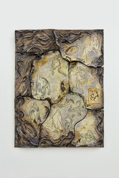 Monika Grabuschnigg Sick mood at sunrise, 2021 Glazed ceramic, resin, aluminium and silicone 107 x 80 x 8 cm 42 1/8 x 31 1/2 x 3 1/8 in