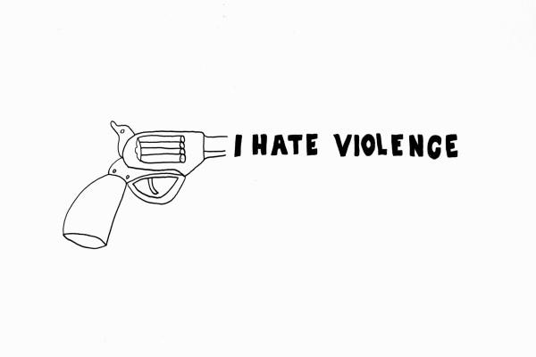 Olaf Breuning I hate violence, 2014 Pen on paper 100 x 150 cm