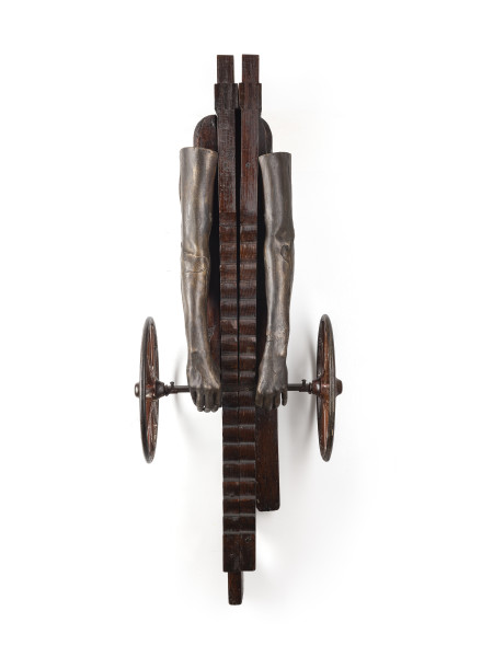 Sara Rahbar I surrender (206 bones), 2020 White bronze and collected vintage object 134.6 x 43.2 x 38.1 cm 53 x 17 x 15 in