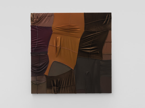 Anthony Akinbola CAMOUFLAGE #055 (Jude), 2021 Acrylic and Du-rags on wooden panel 120 x 120 cm 47 1/4 x 47 1/4 in