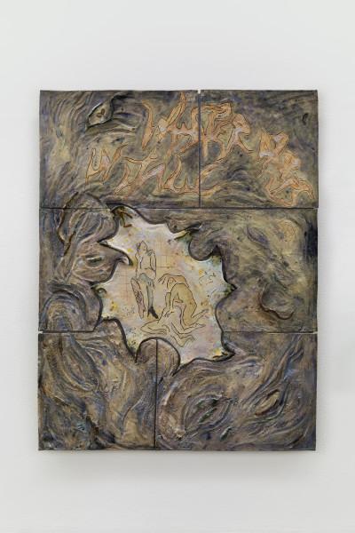 Monika Grabuschnigg Whisper drops in italic, 2021 Glazed ceramic, resin, aluminium and silicone 106.5 x 82.5 x 8 cm 41 7/8 x 32 1/2 x 3 1/8 in