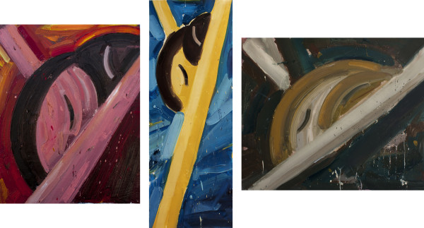 Amir Khojasteh Ascension, 2019 Oil on canvas Triptych 50 x 61 cm 19 3/4 x 24 1/8 in 100 x 36 cm 39 3/8 x 14 1/8 in 35 x 29 cm 13 3/4 x 11 3/8 in