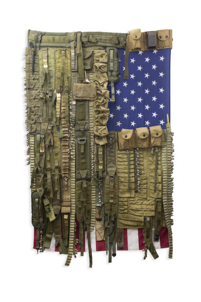 Sara Rahbar Flag #59, I don't trust you anymore, 2019 Collected vintage objects on US vintage flag 198.1 x 121.9 cm 78 x 48 in