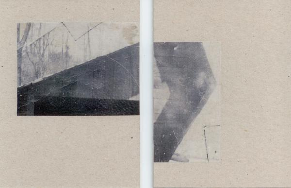 Sarah Almehairi Fictionalized Structures 1, 2019 Print on vellum mounted on bookboard Diptych 14 x 10.5 cm each 5 1/2 x 4 1/8 in each