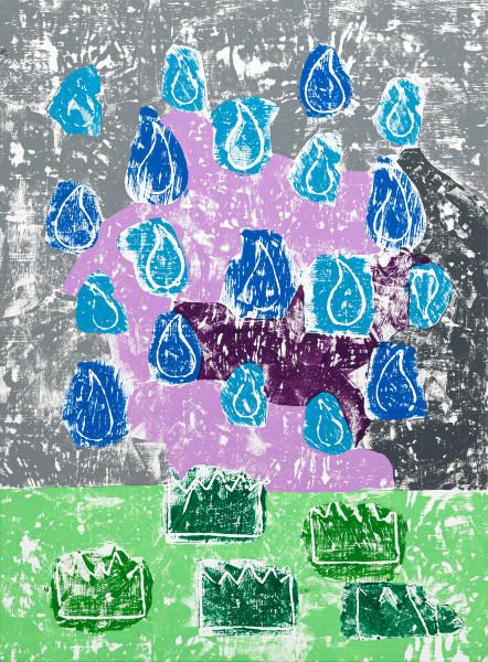 Olaf Breuning Rain, 2019 Wood cut print, gesso and acrylic on canvas 198 x 146 cm 78 x 57 1/2 in