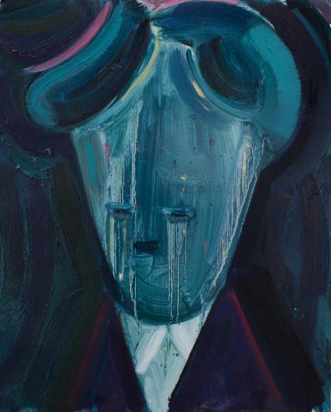 Amir Khojasteh  The Writer, 2018  Oil on canvas  35 x 28 cm  13 3/4 x 11 1/8 in