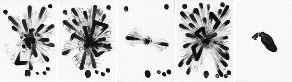 ZIERVOGEL Eskimolied (More), 2013 Black ivory guache and black ink on paper 5 panels 26 x 18 cm each