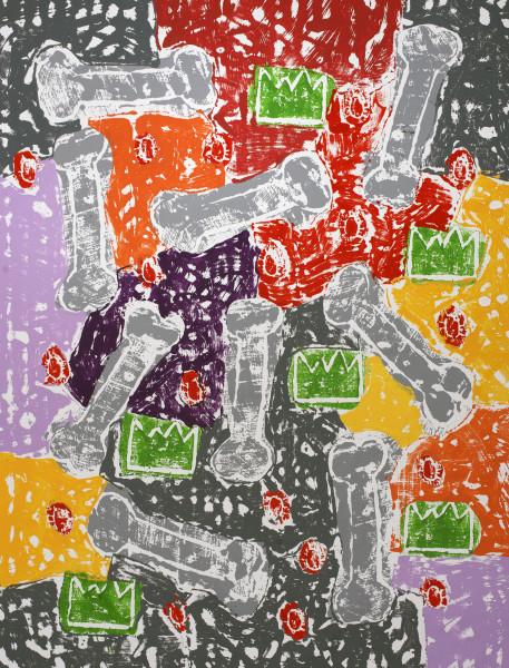 Olaf Breuning Bones, 2020 Wood cut print, gesso and acrylic on canvas 137.16 x 118.87 cm 54 x 46 3/4 in