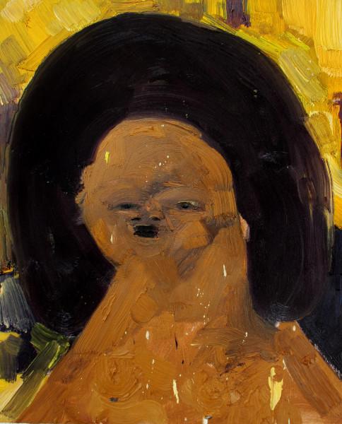 Amir Khojasteh  The Secretary #2, 2018  Oil on canvas  35 x 28 cm  13 3/4 x 11 1/8 in
