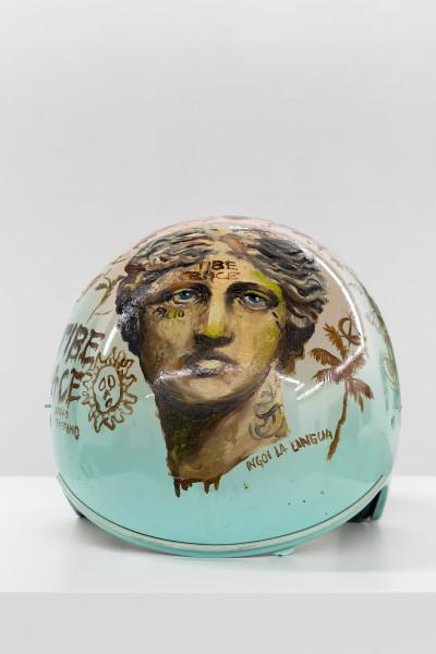 Philip Mueller Autodromo du Castello d'doro, 2020 Oil and lacquer on Helmet 25 x 24 x 30 cm 9 7/8 x 9 1/2 x 11 3/4 in