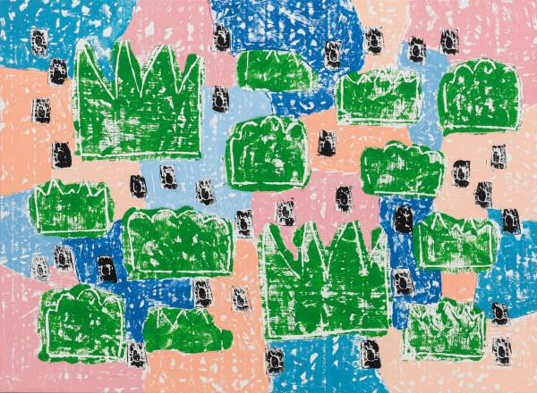 Olaf Breuning Bugs, 2019 Wood cut print, gesso and acrylic on canvas 143 x 195 cm 56 1/4 x 76 3/4 in