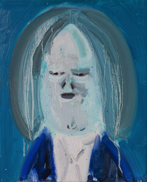 Amir Khojasteh The Blue Singer, 2019 Oil on canvas 35 x 28 cm 13 3/4 x 11 1/8 in