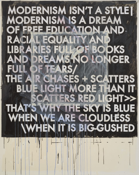 Robert Montgomery, Hammersmith Poem/Malevich Painting (Modernism Isn't a Style), 2017