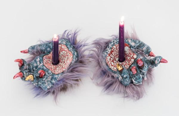 Roxanne Jackson, Stigmata Candle Holders, 2018