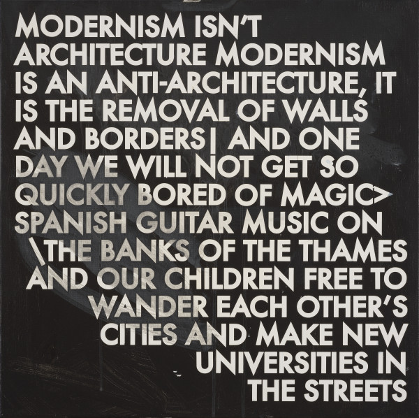 Robert Montgomery, Hammersmith Poem/Malevich Painting (Modernism Isn't Architecture Modernism Is An Anti-architecture), 2017