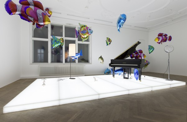 <span class=%22title%22>Quasi Objects: My Room is a Fish Bowl, AC/DC Snakes, Happy Ending, Il Tempo del Postino, Opalescent acrylic glass podium, Disklavier Piano<span class=%22title_comma%22>, </span></span><span class=%22year%22>2014</span>