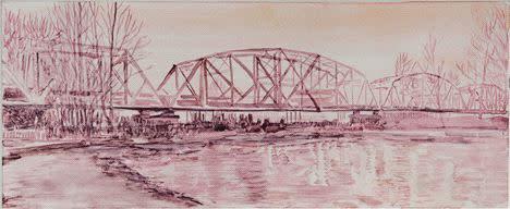 Lli Wilburn, Pink Hayden Island Railroad Bridge, 2011