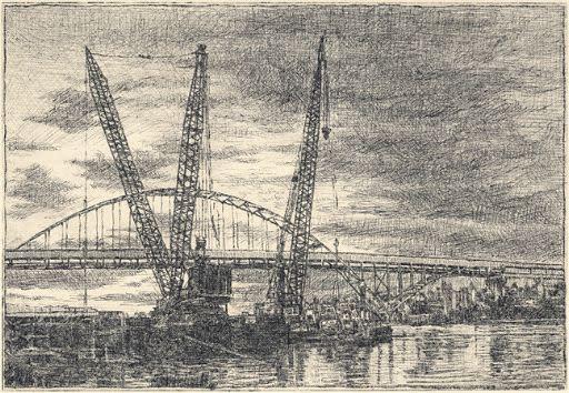 Lli Wilburn, Fremont Bridge and Cranes 1, 2016