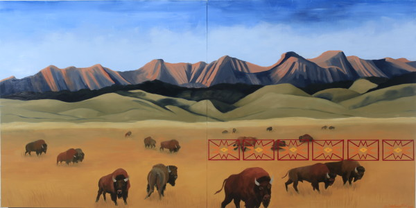 Kay WalkingStick, Buffalo Country (diptych), 2018