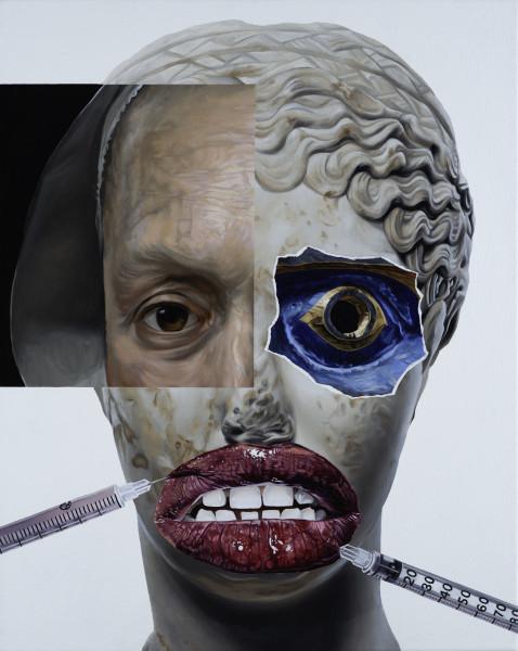 Jake Scharbach, Marble Portrait of Matidia Minor, Roman, ca. A.D. 138-161; Portrait of a Woman, Rembrandt van Rijn, 1633; Komokwa Mask, British Columbia [Kwakwaka'wakw (Kwakiutl)], 1880-90; Syringe Injection, Getty Images, Philippe Regard, 2019