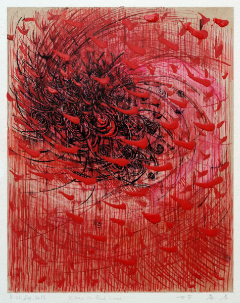 Takahiko Hayashi, D 23 Sept. 2019 Vibes in Red Lines, 2019